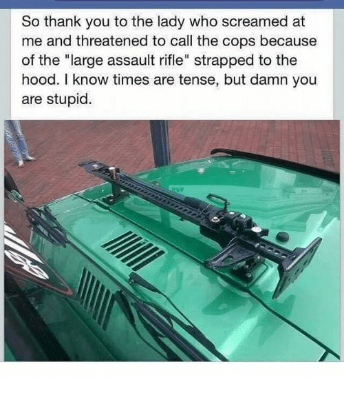 "Memes, The Hood, and Thank You: So thank you to the lady who screamed at  me and threatened to call the cops because  of the ""large assault rifle"" strapped to the  hood. I know times are tense, but damn you  are stupic."