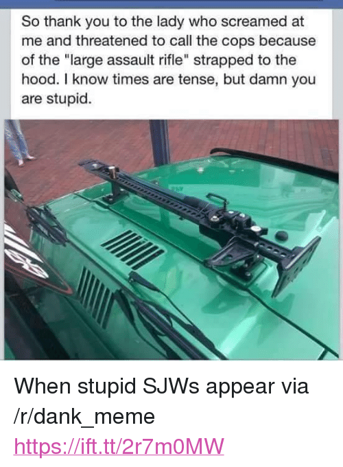 "assault rifle: So thank you to the lady who screamed at  me and threatened to call the cops because  of the ""large assault rifle"" strapped to the  hood. I know times are tense, but damn you  are stupid. <p>When stupid SJWs appear via /r/dank_meme <a href=""https://ift.tt/2r7m0MW"">https://ift.tt/2r7m0MW</a></p>"