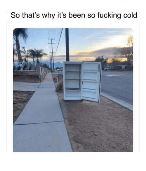 Its Been: So that's why it's been so fucking cold So fucking cold