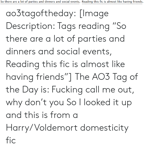 """events: So there are a lot of parties and dinners and social events, Reading this fic is almost like having friends, ao3tagoftheday:  [Image Description: Tags reading """"So there are a lot of parties and dinners and social events, Reading this fic is almost like having friends""""]  The AO3 Tag of the Day is: Fucking call me out, why don't you   So I looked it up and this is from a Harry/Voldemort domesticity fic"""