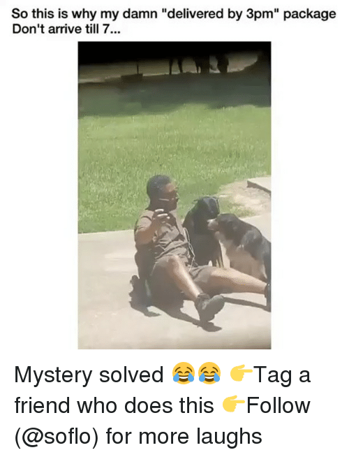 """Mystery Solved: So this is why my damn """"delivered by 3pm"""" package  Don't arrive till 7... Mystery solved 😂😂 👉Tag a friend who does this 👉Follow (@soflo) for more laughs"""