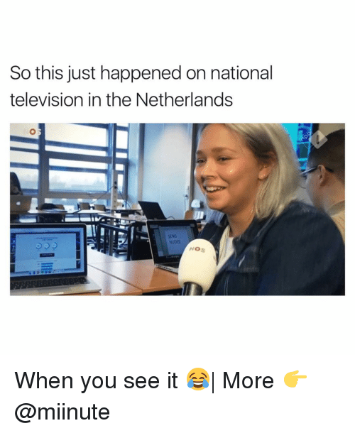 televisions: So this just happened on national  television in the Netherlands  SEND  NOS When you see it 😂| More 👉 @miinute