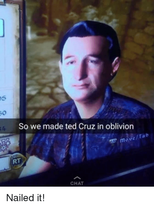 So We Made Ted Cruz in Oblivion Move CHAT Nailed It! | Ted ...