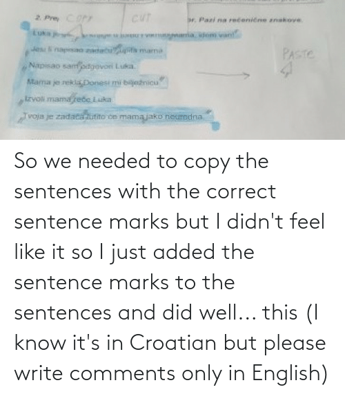 Croatian: So we needed to copy the sentences with the correct sentence marks but I didn't feel like it so I just added the sentence marks to the sentences and did well... this (I know it's in Croatian but please write comments only in English)