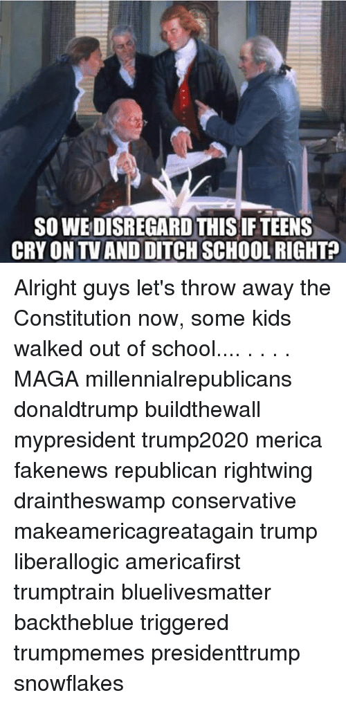 Memes, School, and Constitution: SO WEDISREGARD THIS IF TEENS  CRY ON TV AND DITCH SCHOOL RIGHT Alright guys let's throw away the Constitution now, some kids walked out of school.... . . . . MAGA millennialrepublicans donaldtrump buildthewall mypresident trump2020 merica fakenews republican rightwing draintheswamp conservative makeamericagreatagain trump liberallogic americafirst trumptrain bluelivesmatter backtheblue triggered trumpmemes presidenttrump snowflakes