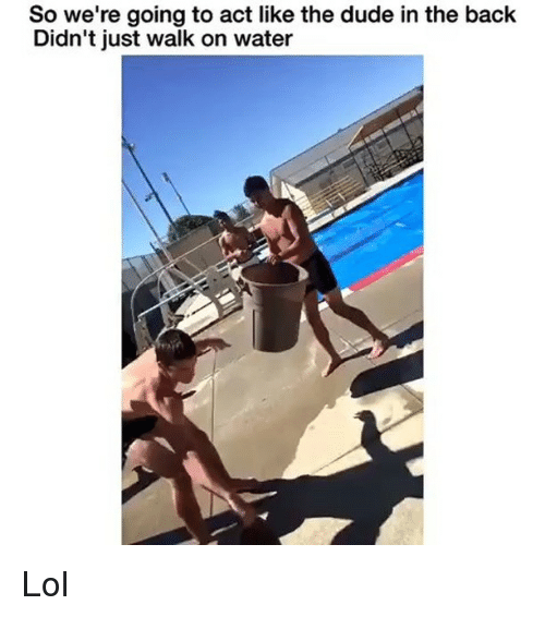 Dude, Funny, and Lol: So we're going to act like the dude in the back  Didn't just walk on water Lol