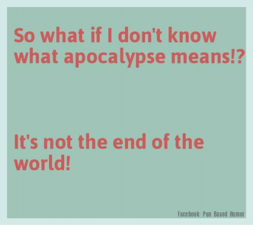 Facebook Pun: So what if I don't know  what apocalypse means!?  It's not the end of the  world!  Facebook: Pun Based Humor