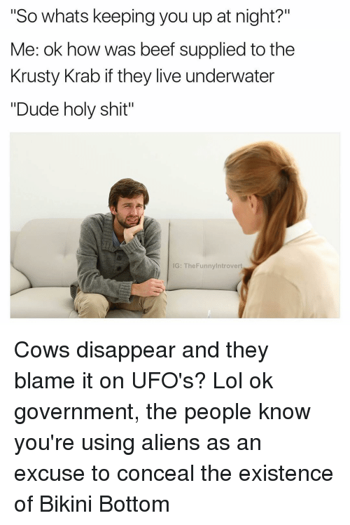 """ufo: """"So whats keeping you up at night?""""  Me: ok how was beef supplied to the  Krusty Krab if they live underwater  """"Dude holy shit""""  IG: The Funnylntrovert Cows disappear and they blame it on UFO's? Lol ok government, the people know you're using aliens as an excuse to conceal the existence of Bikini Bottom"""