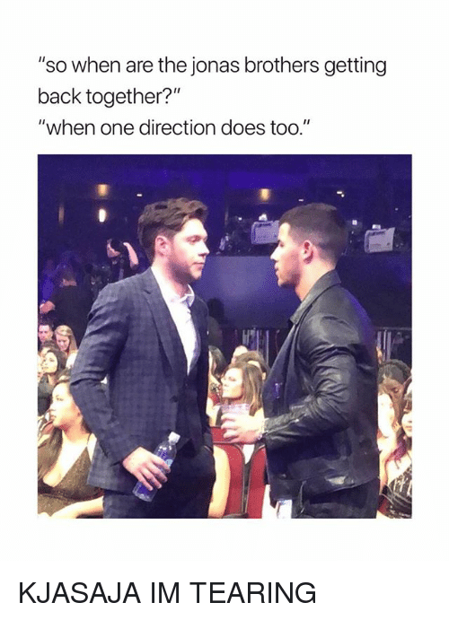"""Jonas Brothers: """"so when are the jonas brothers getting  back together?""""  """"when one direction does too."""" KJASAJA IM TEARING"""