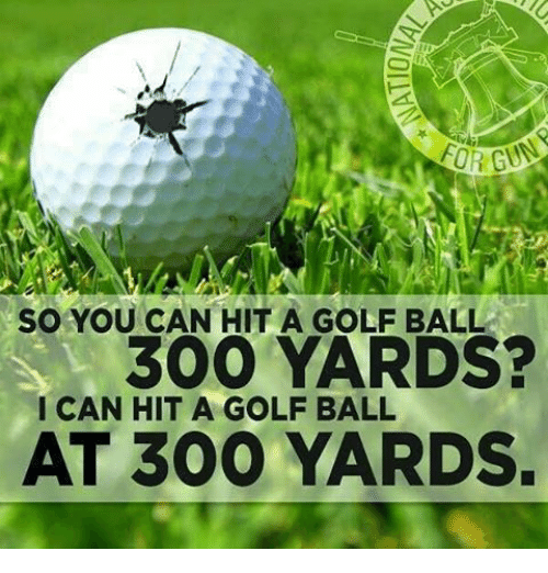 Memes, 🤖, and Yard: so YOU CAN HIT A GOLF BALL  300 YARDS?  ICAN HIT A GOLF BALL  AT 300 YARDS.