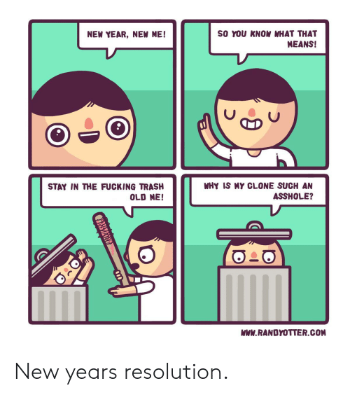 new year's resolution: SO YOU KNOW WHAT THAT  MEANS!  NEW YEAR, NEW ME!  WHY IS MY CLONE SUCH AN  ASSHOLE?  STAY IN THE FUCKING TRASH  OLD ME  WWW.RANDYOTTER.COM New years resolution.