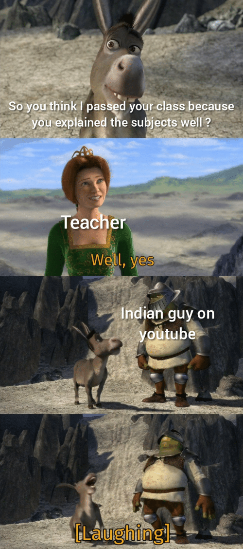 Indian: So you think I passed your class because  you explained the subjects well ?  Teacher  Well, yes  Indian guy on  youtube  ELaughingl
