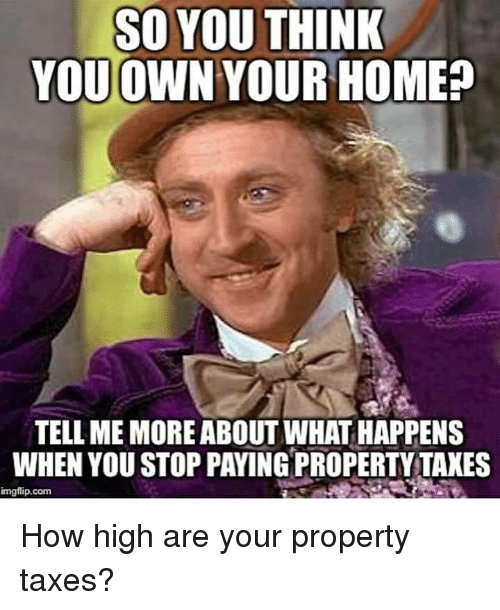 How High, Memes, and Taxes: SO YOU THINK  YOUOWN YOUR HOME?  TELL ME MORE ABOUT WHAT HAPPENS  WHEN YOU STOP PAYING PROPERTY TAXES  imgflip.com How high are your property taxes?