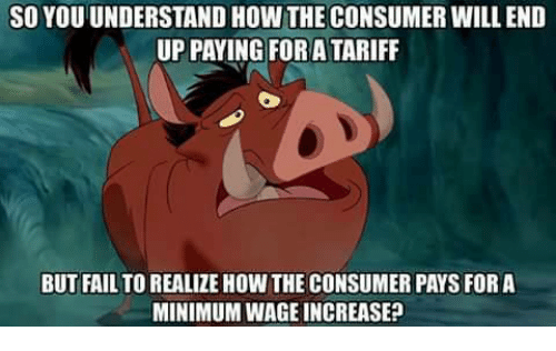 consumate: SO YOU UNDERSTAND HOW THE CONSUMER WILL END  UP PAYING FOR ATARIFF  BUT FAIL TO REALIZE HOW THE CONSUMER PAYS FOR A  MINIMUMWAGE INCREASE?