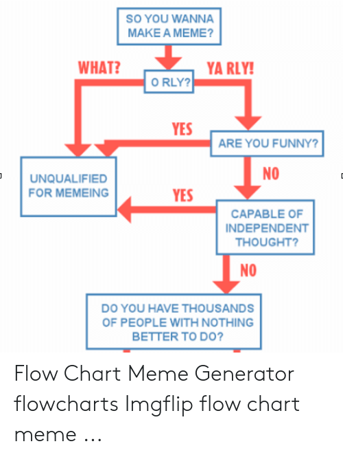 Ya Rly: SO YOU WANNA  MAKE A MEME?  WHAT?  YA RLY!  O RLY?  YES  ARE YOU FUNNY?  NO  UNQUALIFIED  FOR MEMEING  YES  CAPABLE OF  INDEPENDENT  THOUGHT?  NO  DO YOU HAVE THOUSANDS  OF PEOPLE WITH NOTHING  BETTER TO DO? Flow Chart Meme Generator flowcharts Imgflip flow chart meme ...