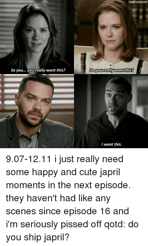 Cute, Memes, and The Next Episode: So you... you really want this?  GREY BOOK  Do you really want this?  I want this. 9.07-12.11 i just really need some happy and cute japril moments in the next episode. they haven't had like any scenes since episode 16 and i'm seriously pissed off qotd: do you ship japril?