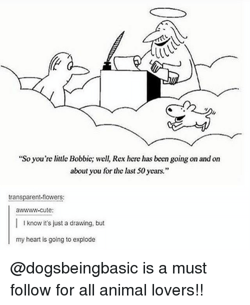 "Cute, Memes, and Animal: ""So you're little Bobbic; well, Rex here has been going on and on  about you for the last 50 years.""  transparent-flowers:  awwww-cute:  I know it's just a drawing, but  my heart is going to explode @dogsbeingbasic is a must follow for all animal lovers!!"