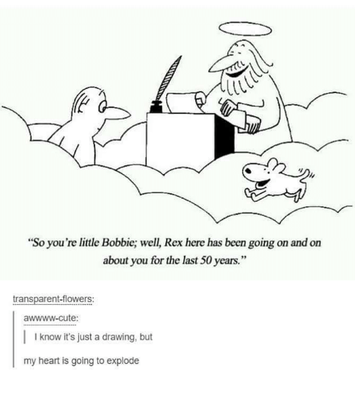 """youre: """"So you're little Bobbie; well, Rex here has been going on and on  about you for the last 50 years.""""  transparent-flowers:  awwww-cute:  I know it's just a drawing, but  my heart is going to explode"""