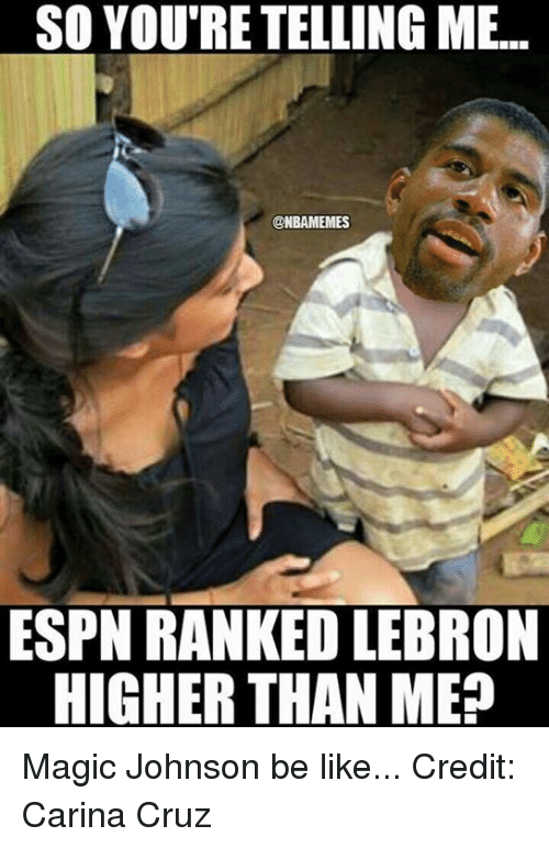 NBA: SO YOU'RE TELLING ME.  ONBAMEMES  ESPN RANKED LEBRON  HIGHER THAN ME? Magic Johnson be like... Credit: Carina Cruz