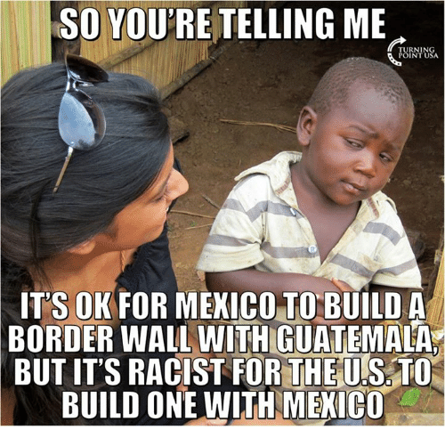 Your Telling Me: SO YOURE TELLING ME  POINT USA  ITS OK FOR MEXICO TO BUILD A  BORDER WALL WITH GUATEMALA  BUTITS RACIST FOR THE U SATO  BUILD ONE WITH MEXICO