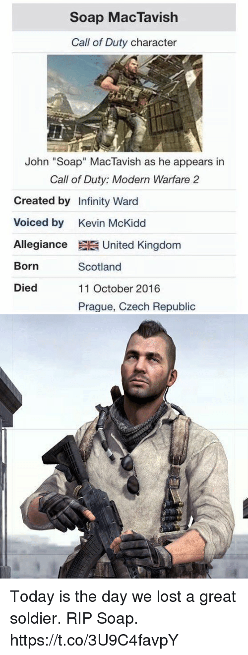 "modern warfare: Soap MacTavish  Call of Duty character  John ""Soap"" MacTavish as he appears in  Call of Duty: Modern Warfare 2  Created by Infinity Ward  Voiced by Kevin McKidd  Allegiance United Kingdom  Born  Died  Scotland  11 October 2016  Praque, Czech Republic Today is the day we lost a great soldier. RIP Soap. https://t.co/3U9C4favpY"