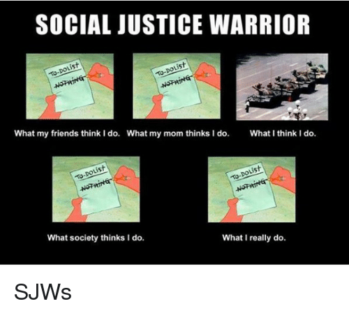 What My Mom Thinks I Do: SOCIAL JUSTICE WARRIOR  is  What my friends think I do.  What my mom thinks I do.  What I think I do.  What society thinks I do.  What I really do <p>SJWs</p>
