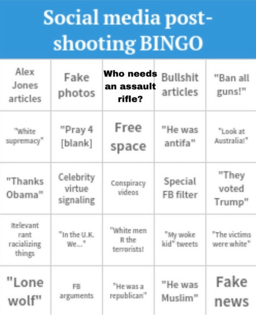 """Signaling: Social media post-  shooting BINGO  Alex  Jones  articles  Who needs Bullshit""""Ban all  articles guns!""""  an assault  rifle?  photos  ry 4 Free """"He was ook  supremacy"""" [blank  space antifaustralial  They  Trump""""  virtue ConspiracySpecial  videos FB filter  obama"""" signaling  televant  rant  racializing  things  white men  R the  terronists  In the U.K  My woke The victims  kid"""" tweets were white  FB """"HewHe was Fake  uments republican""""Mslnews  wolf"""