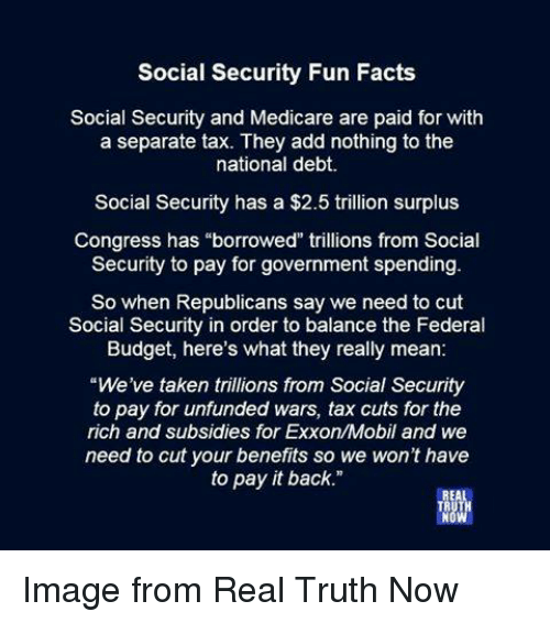 "Facts, Taken, and Budget: Social Security Fun Facts  Social Security and Medicare are paid for with  a separate tax. They add nothing to the  national debt.  Social Security has a $2.5 trillion surplus  Congress has ""borrowed"" trillions from Social  Security to pay for government spending.  So when Republicans say we need to cut  Social Security in order to balance the Federal  Budget, here's what they really mean:  ""We've taken trillions from Social Security  to pay for unfunded wars, tax cuts for the  rich and subsidies for Exxon/Mobil and we  need to cut your benefits so we won't have  to pay it back."" Image from Real Truth Now"