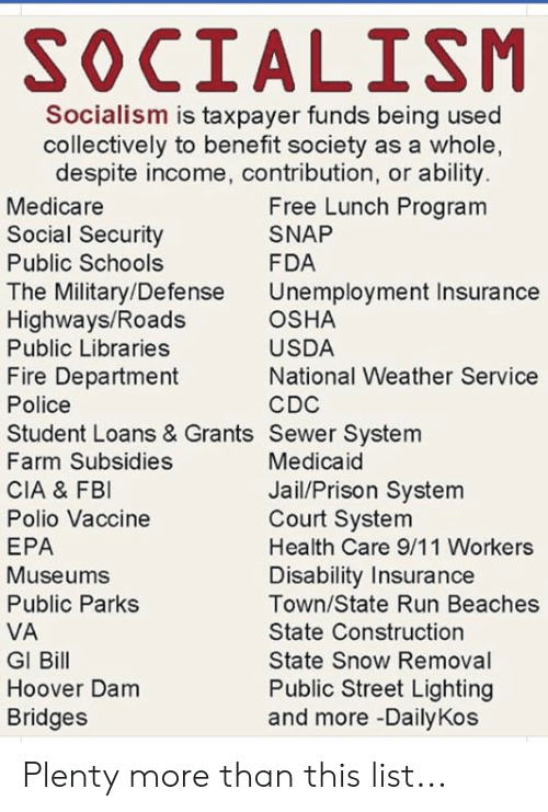 gi bill: SOCIALISM  Socialism is taxpayer funds being used  collectively to benefit society as a whole,  despite income, contribution, or ability  Medicare  Social Security  Public Schools  The Military/Defense  Highways/Roads  Public Libraries  Fire Department  Police  Student Loans & Grants Sewer System  Farm Subsidies  CIA & FBI  Polio Vaccine  EPA  Museums  Public Parks  VA  GI Bill  Hoover Dam  Bridges  Free Lunch Program  SNAP  FDA  Unemployment Insurance  OSHA  USDA  National Weather Service  CDC  Medicaid  Jail/Prison System  Court System  Health Care 9/11 Workers  Disability Insurance  Town/State Run Beaches  State Construction  State Snow Removal  Public Street Lighting  and more -DailyKos Plenty more than this list...
