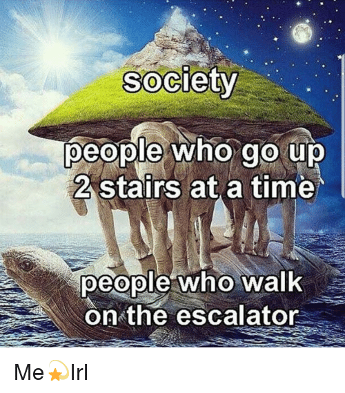 Escalator: Society  people who go up  2 stairs at a time  people who walk  on the escalator Me💫Irl