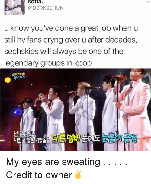 Memes, Credited, and 🤖: Sofia.  (a DORKSEHUN  u know you've done a great job when u  still hv fans cryng over u after decades,  sechskies will always be one of the  legendary groups in kpop My eyes are sweating . . . . . Credit to owner✌