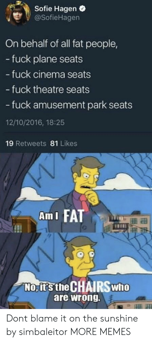 ami: Sofie Hagen .  @SofieHagen  On behalf of all fat people,  - fuck plane seats  fuck cinema seats  - fuck theatre seats  - fuck amusement park seats  12/10/2016, 18:25  19 Retweets 81 Likes  AmI FATT  No, it's the CHAIRSwho  are wrong. Dont blame it on the sunshine by simbaleitor MORE MEMES