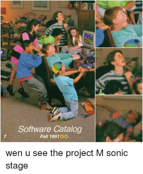 Fall, Sonic the Hedgehog, and Hedgehog: Software Catalog  Fall 1991 OO wen u see the project M sonic stage