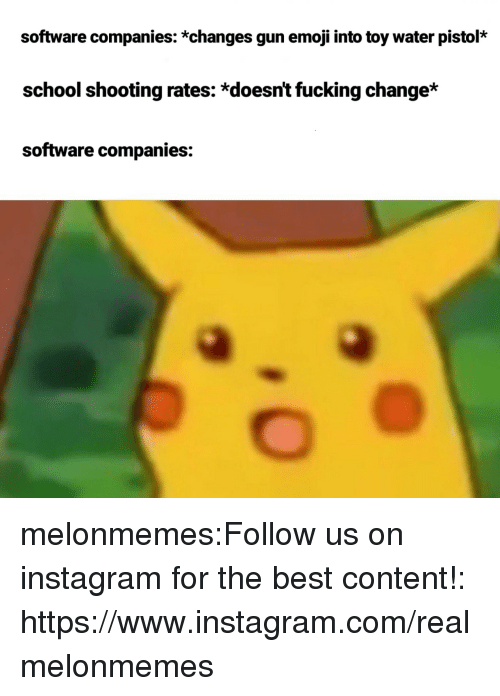 water pistol: software companies: *changes gun emoji into toy water pistol*  school shooting rates: *doesnt fucking change*  software companies: melonmemes:Follow us on instagram for the best content!: https://www.instagram.com/realmelonmemes