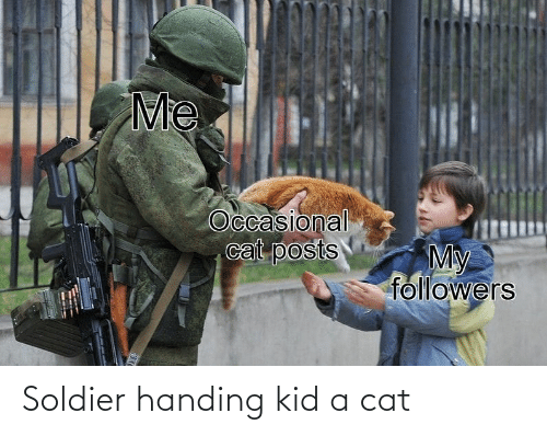 soldier: Soldier handing kid a cat