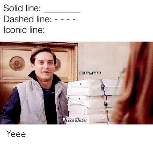 Tobey Maguire: Solid line:  Dashed line:  Iconic line:  IG@TOBEY  MAGUIRE  Pizza time. Yeee