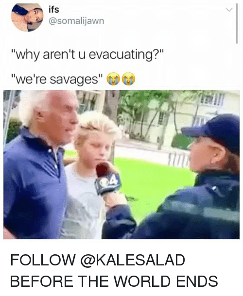 """Memes, World, and 🤖: @somalijawn  why aren't u evacuating?""""  we're savages"""" FOLLOW @KALESALAD BEFORE THE WORLD ENDS"""