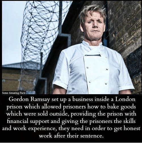 amazing facts: Some Amazing Facts  Gordon Ramsay set up a business inside a London  prison which allowed prisoners how to bake goods  which were sold outside, providing the prison with  nancial support and giving the prisoners the skills  and work experience, they need in order to get honest  work after their sentence.
