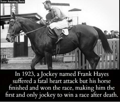 fatality: Some Amazing Facts  In 1923, a Jockey named Frank Hayes  suffered a fatal heart attack but his horse  finished and won the race, making him the  first and only jockey to win a race after death