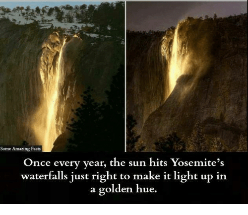 amazing facts: Some Amazing Facts  Once every year, t  he sun hits Yosemite's  waterfalls just right to make it light up in  a golden hue.