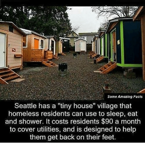 "Memes, Seattle, and 🤖: Some Amazing Facts  Seattle has a ""tiny house"" village that  homeless residents can use to sleep, eat  and shower. It costs residents $90 a month  to cover utilities, and is designed to help  them get back on their feet."