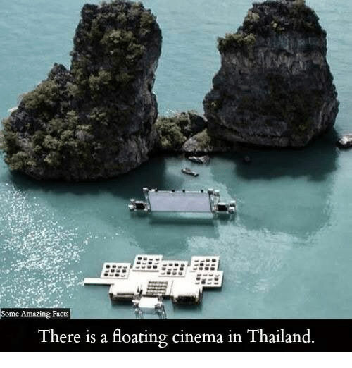 Facts, Memes, and Thailand: Some Amazing Facts  There is a floating cinema in Thailand.