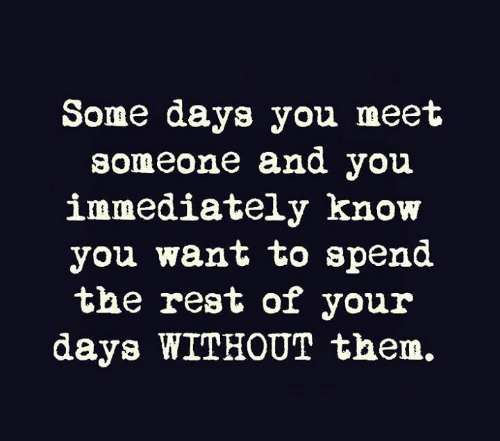 Some Days: Some days you meet  someone and you  immediately know  you want to spend  the rest of your  days WITHOUT them.