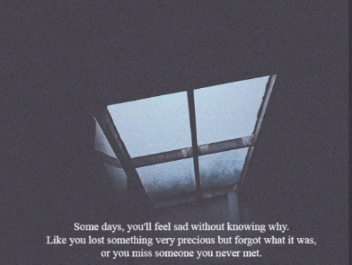 Miss Someone: Some days, you'll feel sad without knowing why.  Like you lost something very precious but forgot what it was,  or you miss someone you never met.