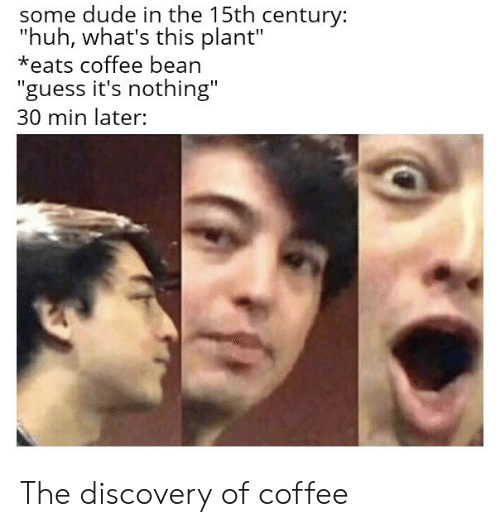 """Whats This: some dude in the 15th century:  """"huh, what's this plant""""  *eats coffee bean  """"guess it's nothing""""  30 min later: The discovery of coffee"""