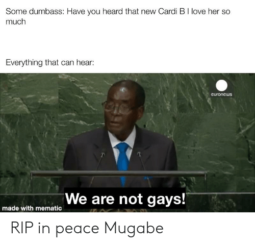 mugabe: Some dumbass: Have you heard that new Cardi B I love her so  much  Everything that can hear:  euronews  We are not gays! RIP in peace Mugabe
