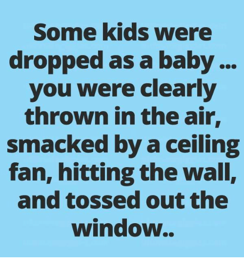 Memes, Kids, and Baby: Some kids were  dropped as a baby...  you were clearly  thrown in the air,  smacked by a ceiling  fan, hitting the wall,  and tossed out the  window..