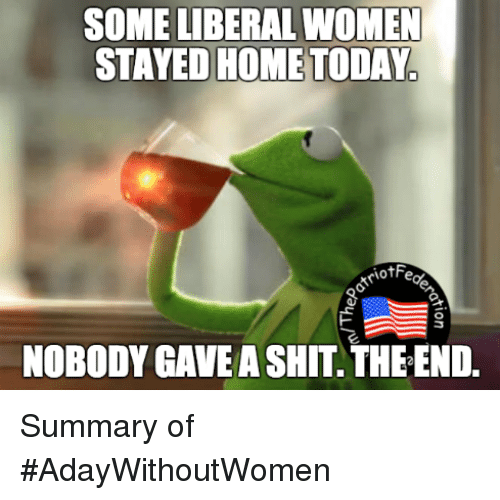 Memes, 🤖, and Homes: SOME LIBERAL WOMEN  STAYED HOME TODAY  iotF  NOBODY GAVE A SHIT THEEND. Summary of #AdayWithoutWomen