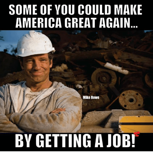 Making America Great Again: SOME OF YOU COULD MAKE  AMERICA GREAT AGAIN  Mike Rowe  BY GETTING A JOB!