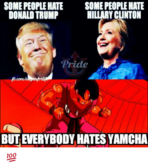 Memes, Trump, and 🤖: SOME PEOPLE HATE  SOME PEOPLE NATE  HILLARY CUNTON  DONALD TRUMP  Pride  BUTEVERYBODY HATES YAMCHA 💯